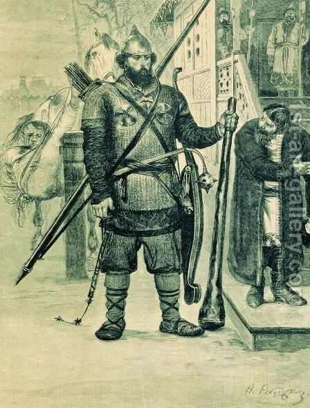 Ilya of Murom. Illustration for the book Russian epic heroes by Andrei Petrovich Ryabushkin - Reproduction Oil Painting