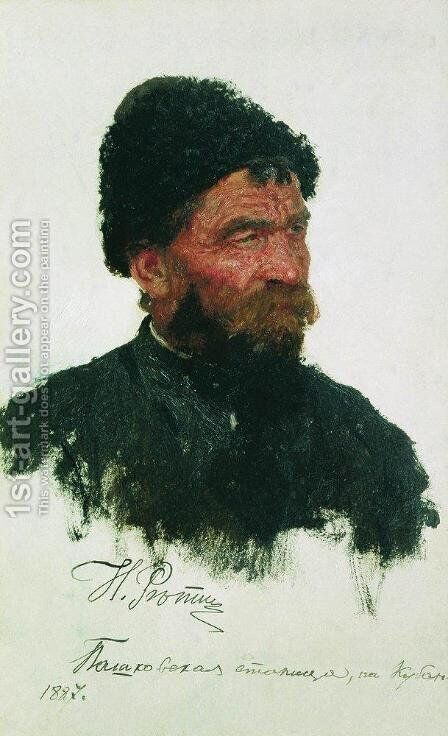 Cossack's head by Ilya Efimovich Efimovich Repin - Reproduction Oil Painting