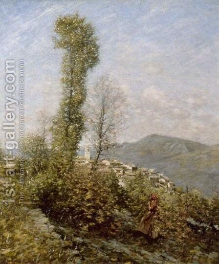 A Hillside Village in Provence, France by Henry Herbert La Thangue - Reproduction Oil Painting