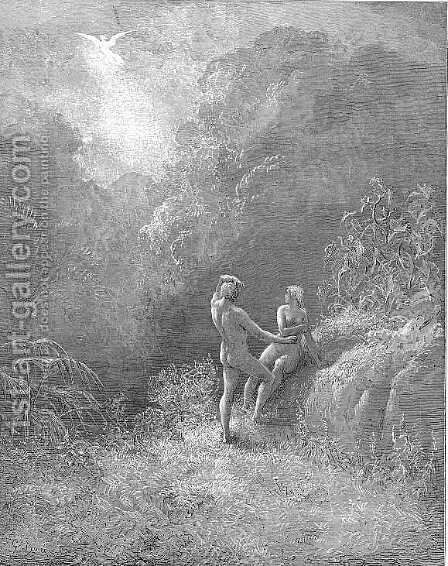 So parted they  the Angel up to heaven From the thick shade, and Adam to his bower by Gustave Dore - Reproduction Oil Painting