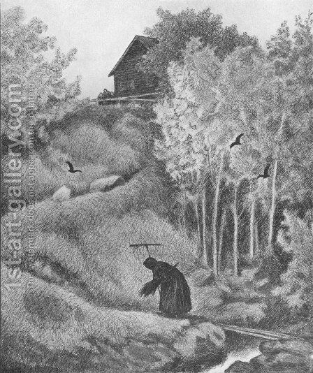 Mor Der Kommer En Kjerring by Theodor Kittelsen - Reproduction Oil Painting