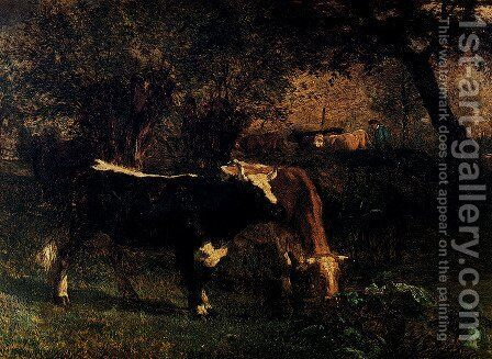 Cows at the Watering by Constant Troyon - Reproduction Oil Painting