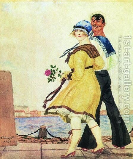 Sailor and His Girl 3 by Boris Kustodiev - Reproduction Oil Painting