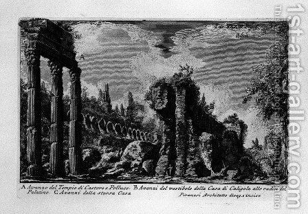 The Roman antiquities, t. 1, Plate XXXIII. Ruins of the temple of Castor and Pollux. by Giovanni Battista Piranesi - Reproduction Oil Painting