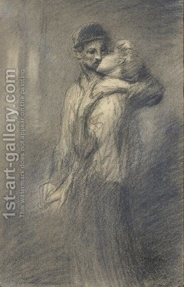 Couple 2 by Theophile Alexandre Steinlen - Reproduction Oil Painting