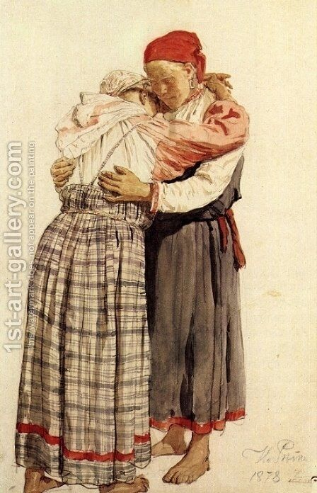 Two woman by Ilya Efimovich Efimovich Repin - Reproduction Oil Painting