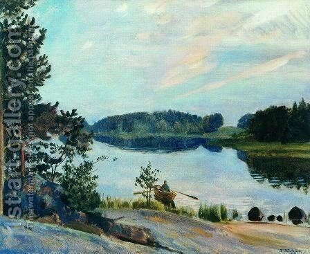 Forest Lake in the Konkol by Boris Kustodiev - Reproduction Oil Painting
