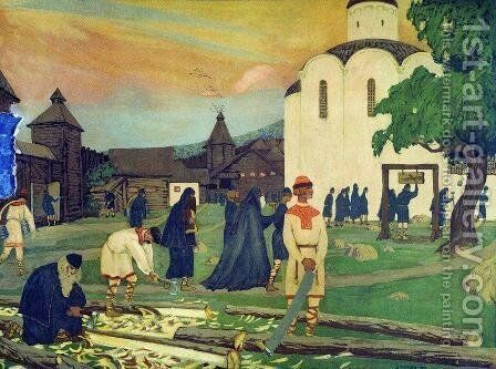 In the monastery by Boris Kustodiev - Reproduction Oil Painting