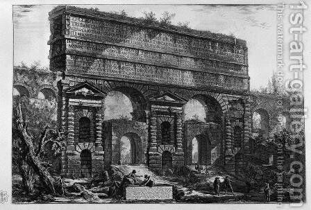 Remains of aqueducts Neroniani by Giovanni Battista Piranesi - Reproduction Oil Painting