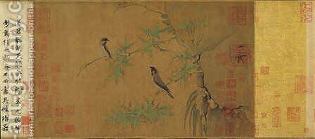 Finches and Bamboo by Huizong Emperor - Reproduction Oil Painting
