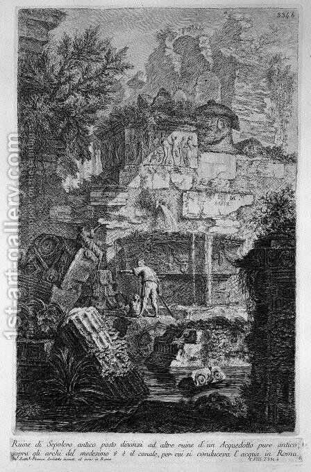 Ruins of an ancient tomb placed before other ruins of an aqueduct by Giovanni Battista Piranesi - Reproduction Oil Painting