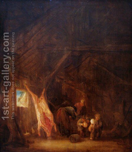 A Barn Interior with a Slaughtered Pig, Children Playing Beyond by Isaack Jansz. van Ostade - Reproduction Oil Painting