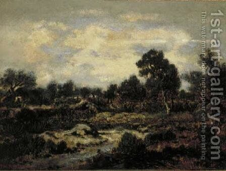 Mountain landscape near Fontainebleau by Theodore Rousseau - Reproduction Oil Painting