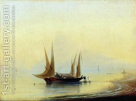 Barge in the sea shore by Ivan Konstantinovich Aivazovsky - Reproduction Oil Painting
