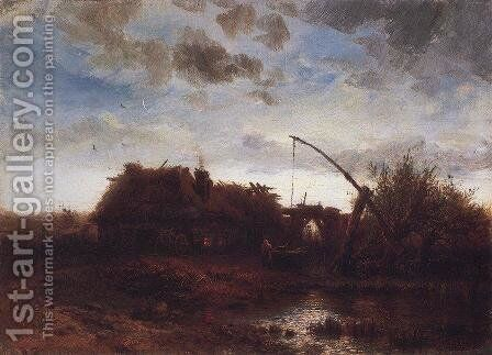 At the well by Alexei Kondratyevich Savrasov - Reproduction Oil Painting
