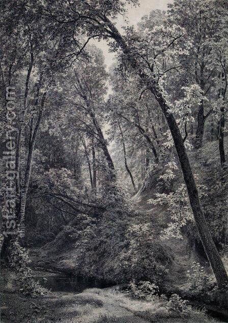 On a stream by Ivan Shishkin - Reproduction Oil Painting