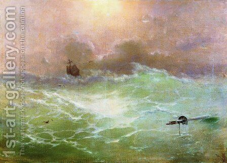Ship in a storm 4 by Ivan Konstantinovich Aivazovsky - Reproduction Oil Painting