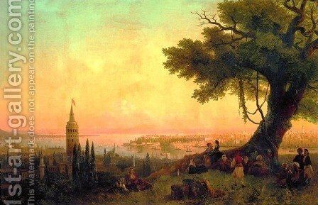 View of Constantinople by evening light by Ivan Konstantinovich Aivazovsky - Reproduction Oil Painting