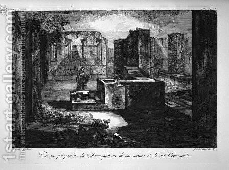 Plan and elevation of a restaurant by Giovanni Battista Piranesi - Reproduction Oil Painting