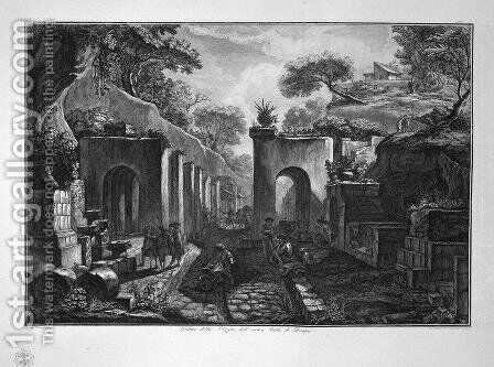 View of the port of the ancient city of Pompeii, design of L Despres by Giovanni Battista Piranesi - Reproduction Oil Painting
