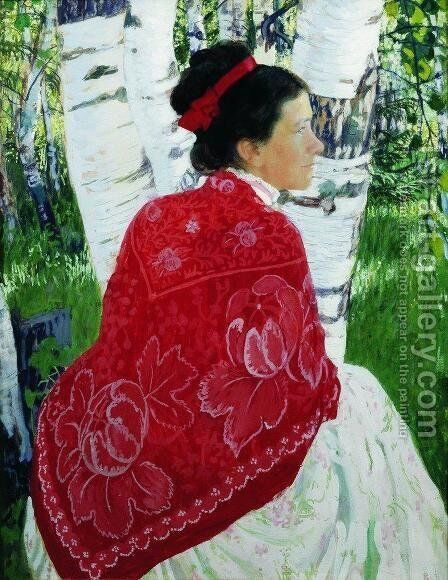 Portrait of the Artist's Wife by Boris Kustodiev - Reproduction Oil Painting