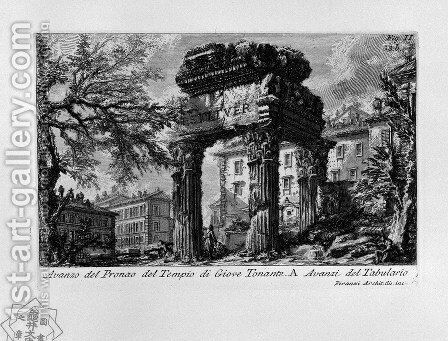 The Roman antiquities, t. 1, Plate XXXII. Ruins of the pronaos of the temple of Jupiter the Thunderer. by Giovanni Battista Piranesi - Reproduction Oil Painting