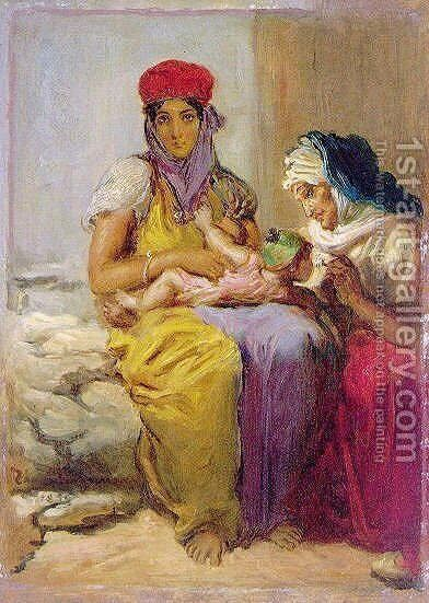 Young Moorish Woman Nursing Her Child by Theodore Chasseriau - Reproduction Oil Painting