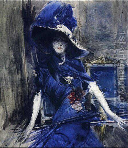 The Divine in Blue by Giovanni Boldini - Reproduction Oil Painting