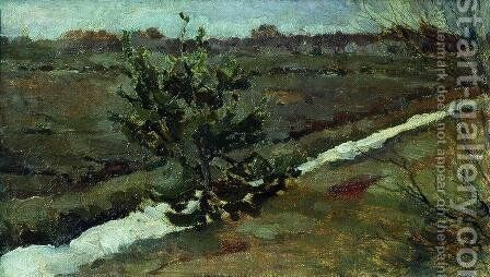 Early spring. A young pine tree. by Isaak Ilyich Levitan - Reproduction Oil Painting