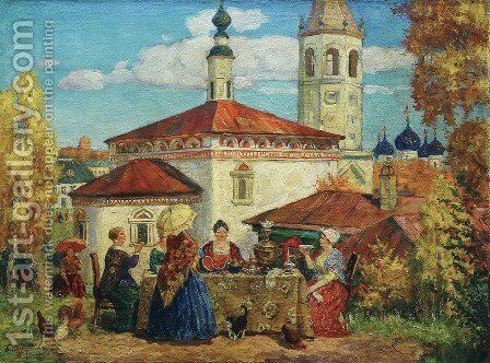 At the Old Suzdal by Boris Kustodiev - Reproduction Oil Painting