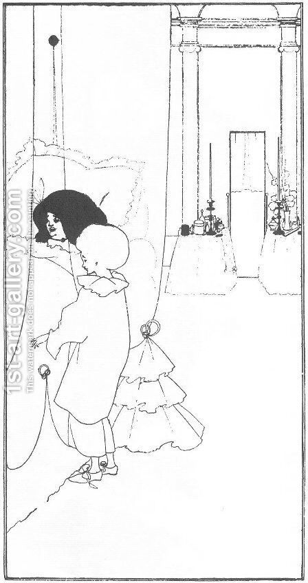 A Child at its Mother's Bed by Aubrey Vincent Beardsley - Reproduction Oil Painting