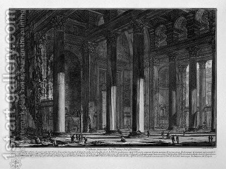 Interior view of the pronaos of the Pantheon by Giovanni Battista Piranesi - Reproduction Oil Painting