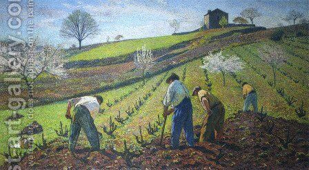 Cultivation of the Vines by Henri Martin - Reproduction Oil Painting