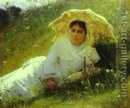 Woman with an Umbrella (In the Grass, Midday) by Ivan Nikolaevich Kramskoy - Reproduction Oil Painting