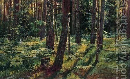 Ferns in the forest. Siverskaya by Ivan Shishkin - Reproduction Oil Painting