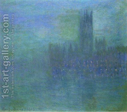 Houses of Parlilament, Fog Effect by Claude Oscar Monet - Reproduction Oil Painting