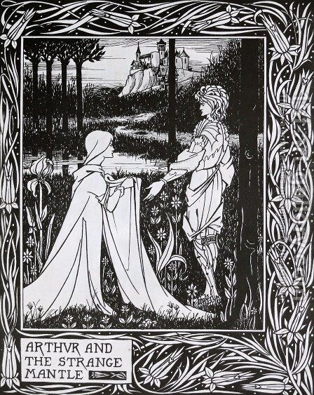 Arthur and the Strange Mantle by Aubrey Vincent Beardsley - Reproduction Oil Painting