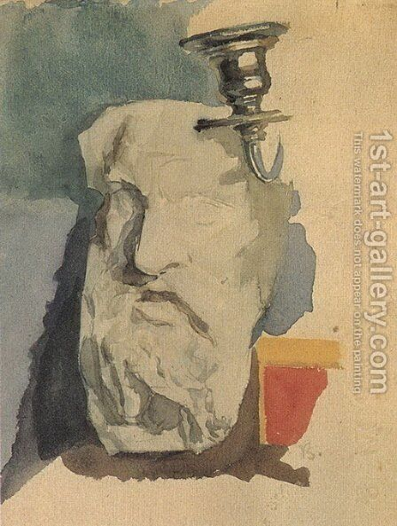 Still Life. Plaster mask, horn of chandelier. by Mikhail Aleksandrovich Vrubel - Reproduction Oil Painting