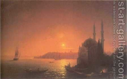View of Constantinople by Moonlight by Ivan Konstantinovich Aivazovsky - Reproduction Oil Painting