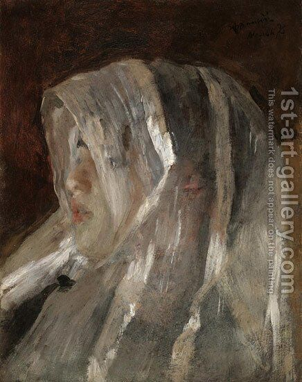 Girl with a White Veil by Antonio Mancini - Reproduction Oil Painting