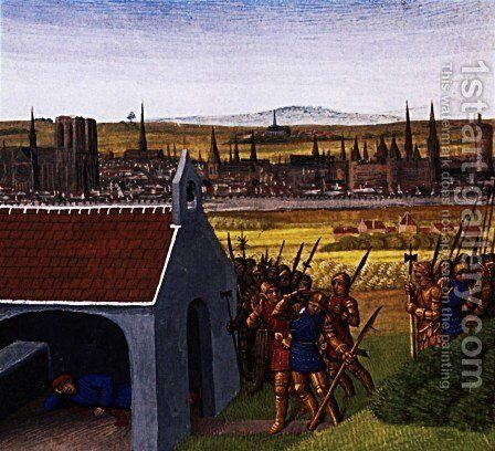 King Clothar II (584-629) cannot bring back his son Dagobert I (605-39) to Paris by Jean Fouquet - Reproduction Oil Painting