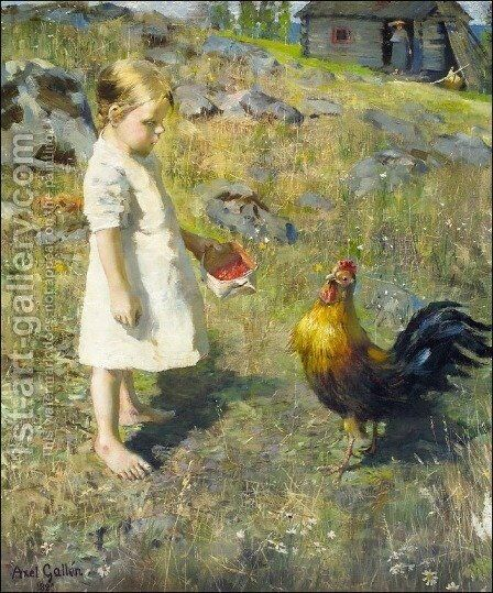 The girl and the rooster by Akseli Valdemar Gallen-Kallela - Reproduction Oil Painting