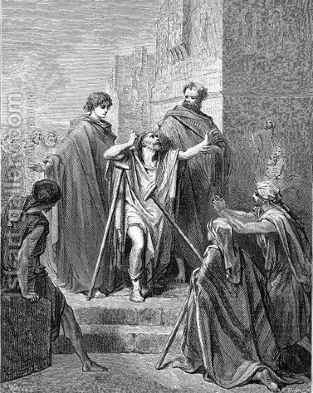 St Peter And St John At Beautiful Gate by Gustave Dore - Reproduction Oil Painting