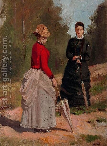 Two female figures by Ivan Shishkin - Reproduction Oil Painting