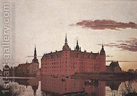 Frederiksborg Palace in the Evening Light by Christen Kobke - Reproduction Oil Painting