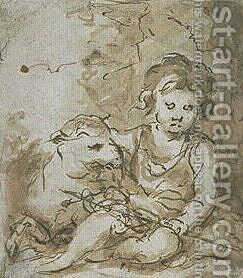 St. John the Baptist with a lamb by Bartolome Esteban Murillo - Reproduction Oil Painting
