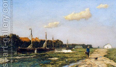 Along the canal 2 by Jan Hendrik Weissenbruch - Reproduction Oil Painting