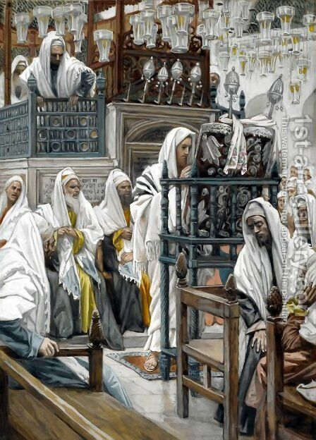 Jesus Unrolls the Book in the Synagogue by James Jacques Joseph Tissot - Reproduction Oil Painting