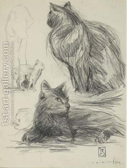 Study of Cats and Figures by Theophile Alexandre Steinlen - Reproduction Oil Painting