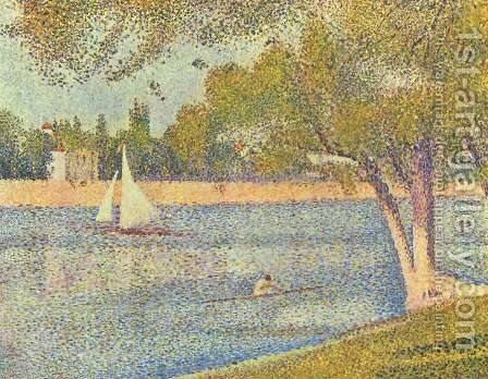 The river Seine at La Grande-Jatte by Georges Seurat - Reproduction Oil Painting